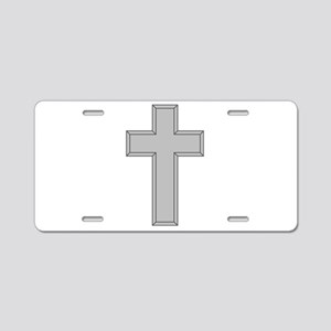 Silver Cross Aluminum License Plate