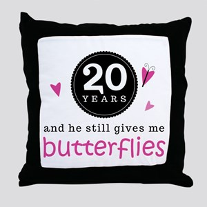 20th Anniversary Butterflies Throw Pillow