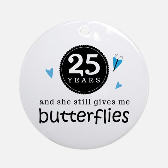 25 Year Anniversary Butterfly Ornament (Round)