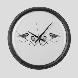 chickadee song bird Large Wall Clock