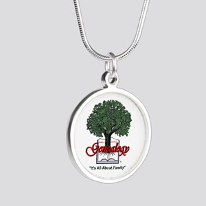It's All About Family Silver Round Necklace