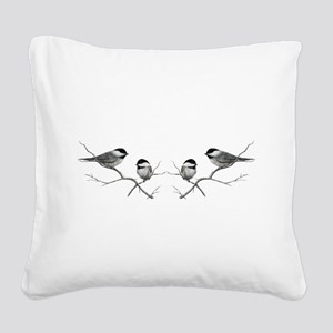 chickadee song bird Square Canvas Pillow