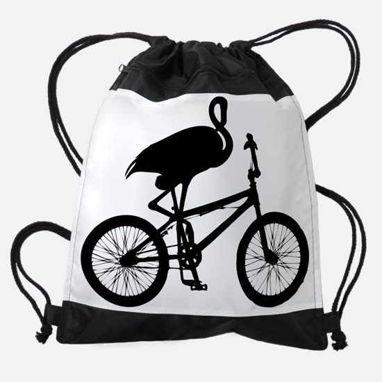 Flamingo on Bicycle Drawstring Bag