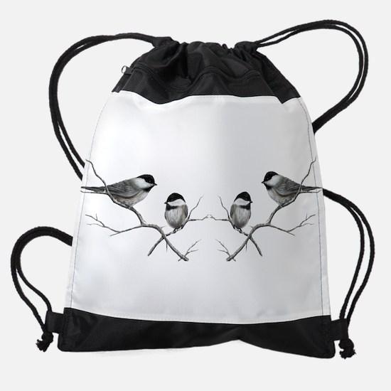 chickadee song bird Drawstring Bag