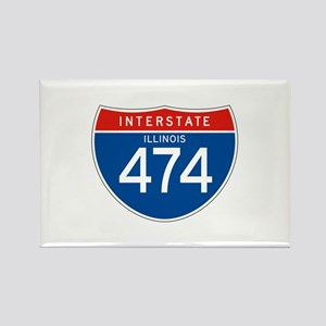 Interstate 474 - IL Rectangle Magnet