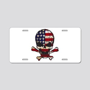 Flag-painted-Skull Aluminum License Plate