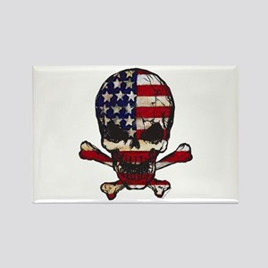 Flag-painted-Skull Rectangle Magnet