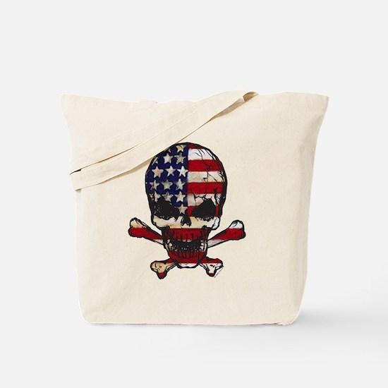 Flag-painted-Skull Tote Bag