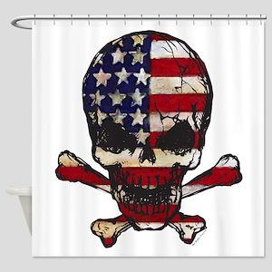 Flag-painted-Skull Shower Curtain