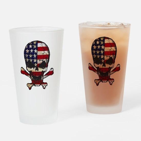 Flag-painted-Skull Drinking Glass