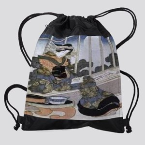 Japanese-Lady-Reading-by-Moonlight- Drawstring Bag