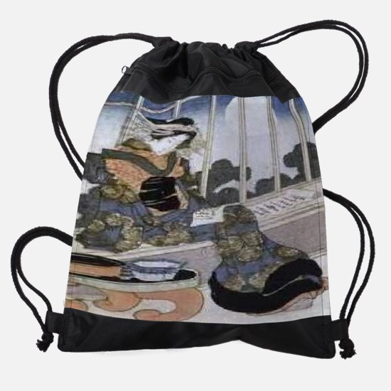 Japanese-Lady-Reading-by-Moonlight- Drawstring Bag