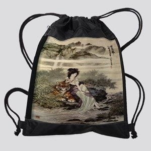 Lady-with-Tiger--C11717110 Drawstring Bag