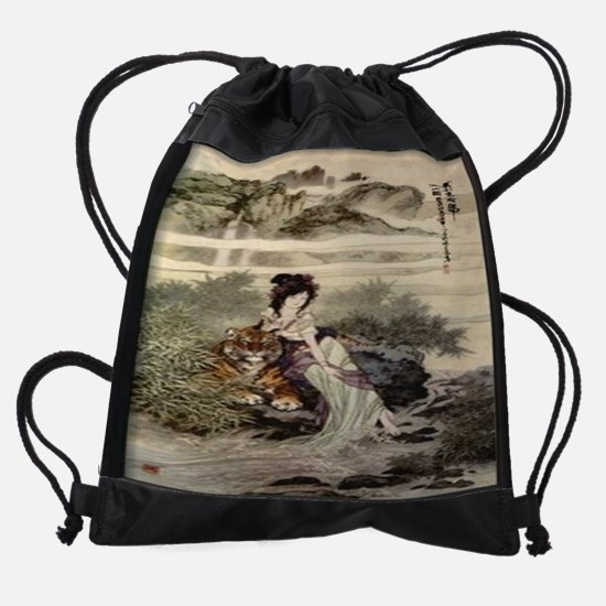Lady-with-Tiger--C11717110.jpg Drawstring Bag
