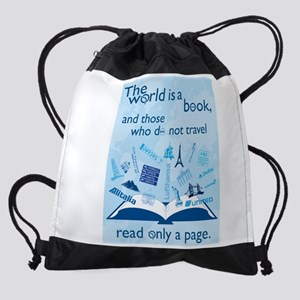 World Is Book Drawstring Bag