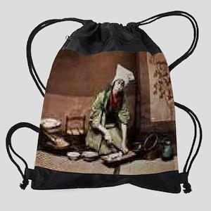 Japanese-Cook-Chopping-a-Radish-Pri Drawstring Bag