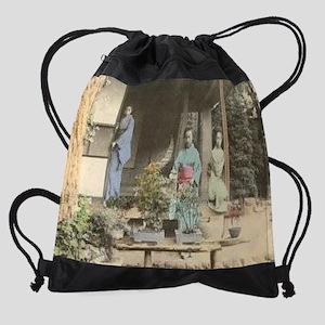 Japanese-Girls-with-Bonsai Drawstring Bag
