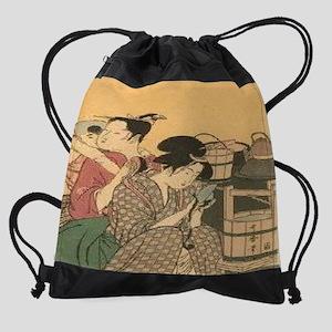 Japanese-Woodblock-Kitchen-Chores-- Drawstring Bag