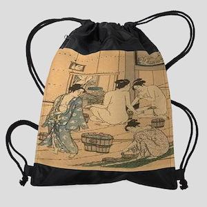 Japanese-Woodblock-Public-Baths--C1 Drawstring Bag