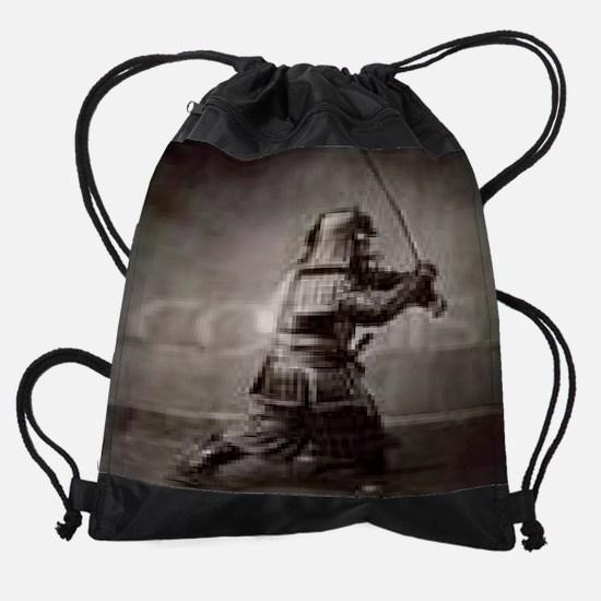 Samurai-Brandishing-Sword-Print-I10 Drawstring Bag