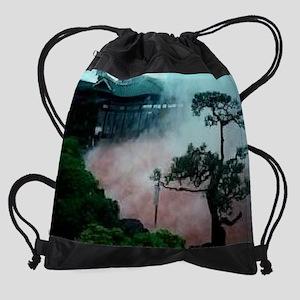 Steam-Rising-From-Hot-Spring-And-Ba Drawstring Bag