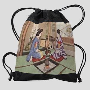 Two-Geishas-Photo--C10341619 Drawstring Bag