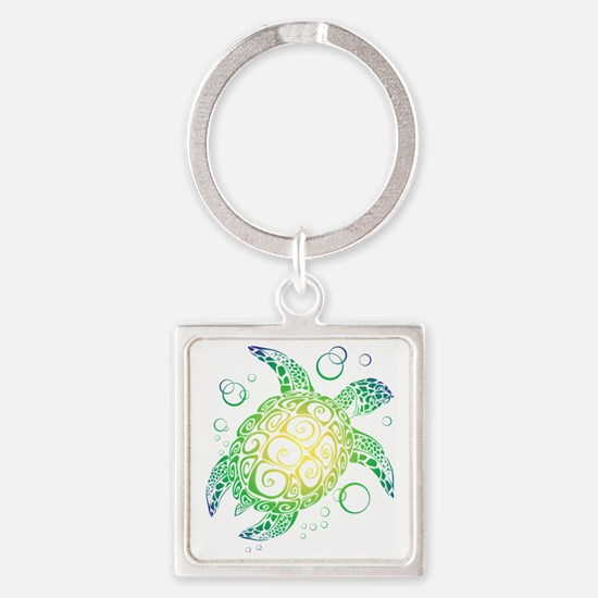 Funny Cute turtle Square Keychain
