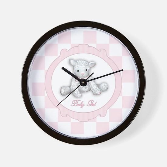 Baby Girl Lamb Wall Clock