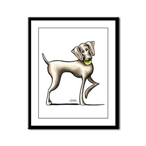 Weimaraner Tennis Framed Panel Print