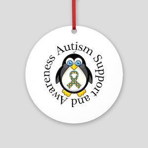 Autism Awareness Penguin Ornament (Round)