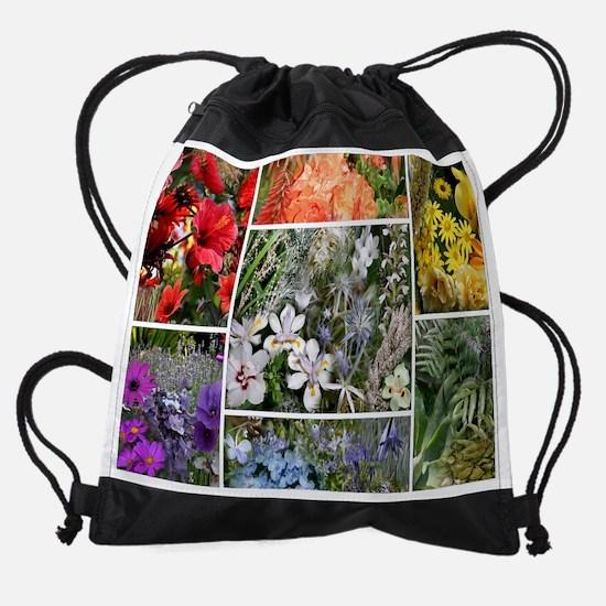 Rainbow Flower Collage Photo Drawstring Bag
