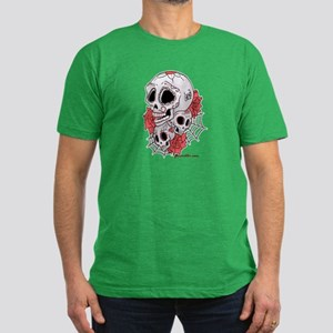 Sugar Skulls and Roses Men's Fitted T-Shirt (dark)