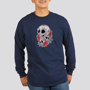 Sugar Skulls and Roses Long Sleeve Dark T-Shirt