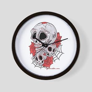 Sugar Skulls and Roses Wall Clock