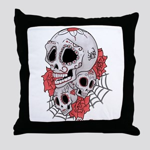 Sugar Skulls and Roses Throw Pillow