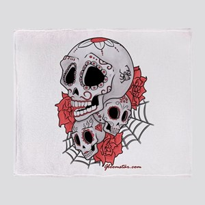 Sugar Skulls and Roses Throw Blanket