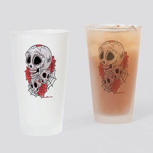 Sugar Skulls and Roses Drinking Glass