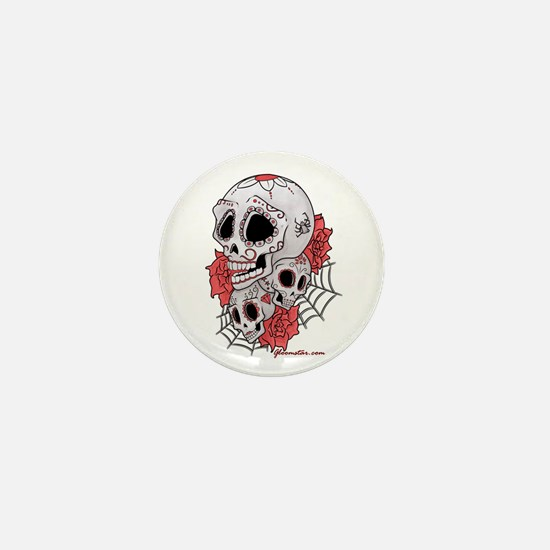 Sugar Skulls and Roses Mini Button