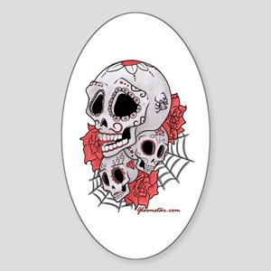 Sugar Skulls and Roses Sticker (Oval)