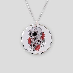 Sugar Skulls and Roses Necklace Circle Charm