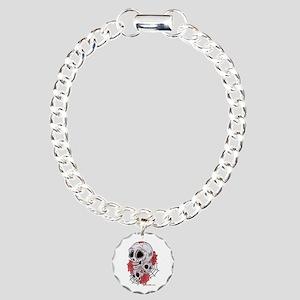 Sugar Skulls and Roses Charm Bracelet, One Charm