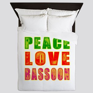 Peace Love Bassoon Queen Duvet