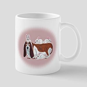 Basset Hound With Bunny Friends Mug