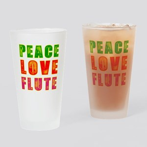 Peace Love Flute Drinking Glass