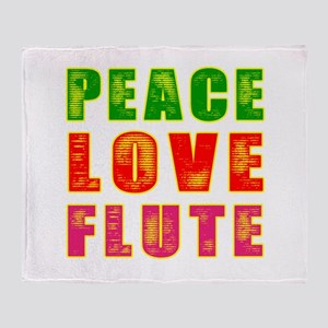 Peace Love Flute Throw Blanket