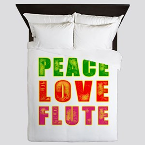 Peace Love Flute Queen Duvet
