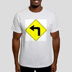 Left Turn Ahead Ash Grey T-Shirt