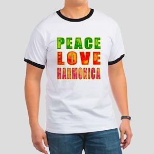 Peace Love Harmonica Ringer T