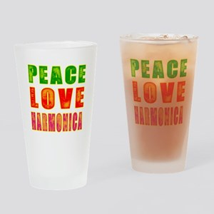 Peace Love Harmonica Drinking Glass