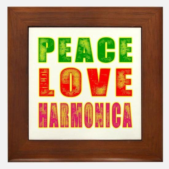 Peace Love Harmonica Framed Tile